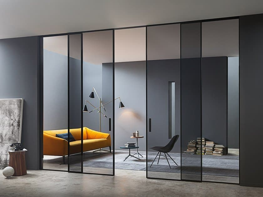 sliding movable wall with metal frame in black color