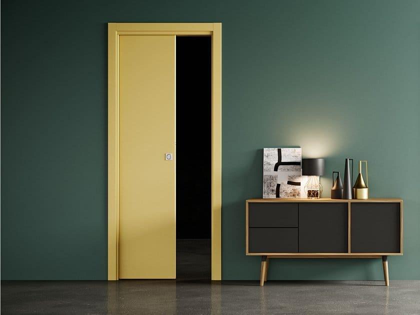 yellow door on green wall; wood door design