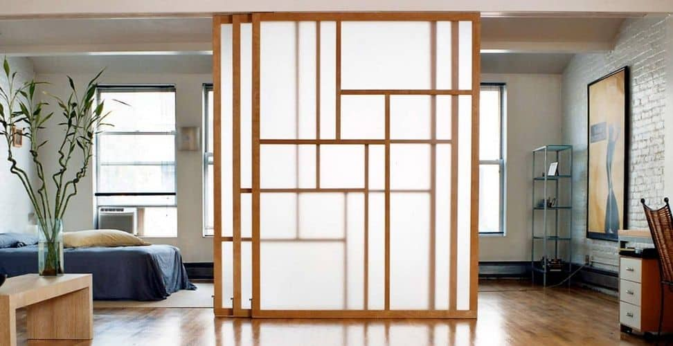 plywood barn door with glass grid