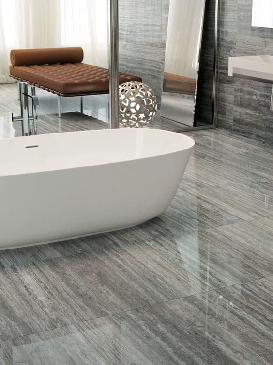 grey glossy flooring tiles for bathroom with bathroom tub