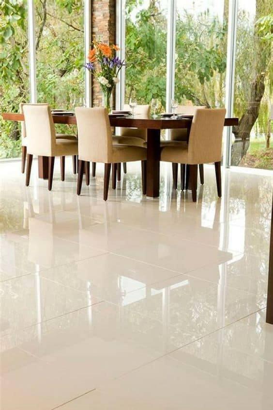 ceramic tiles in glossy finish for dining room.