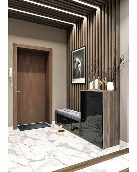 white ceramic tiles for wooden wall and entrance