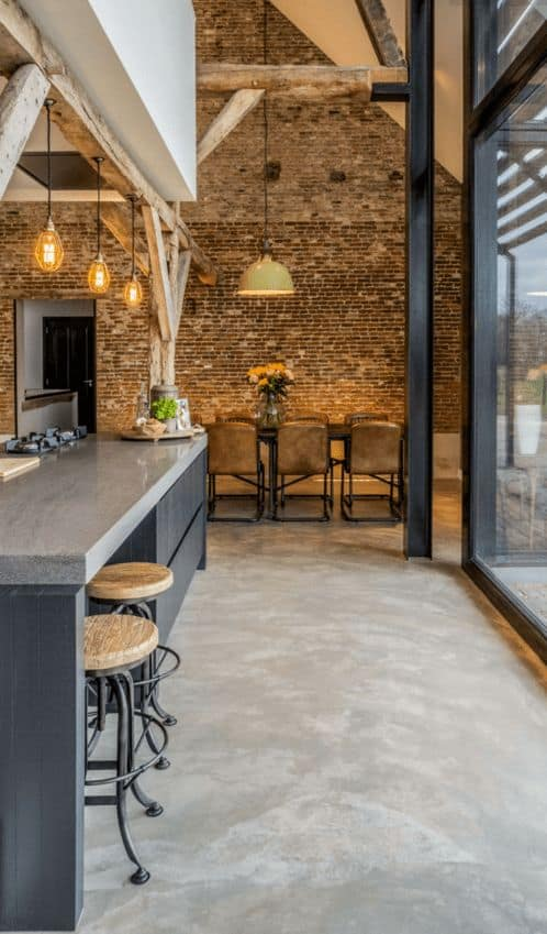 Concrete flooring for a cafe