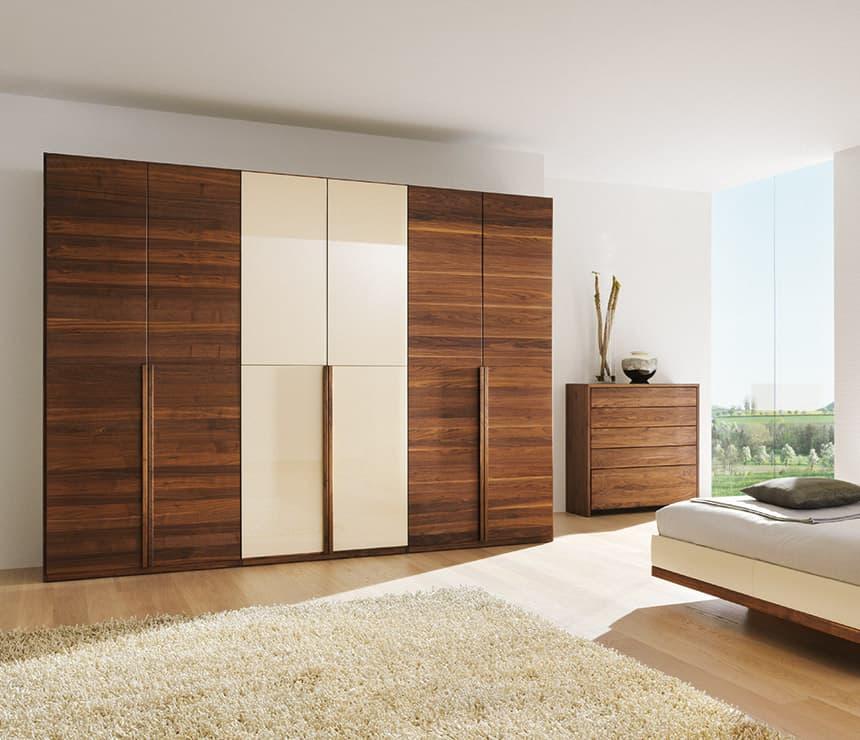 White matte laminates on wood wardrobe