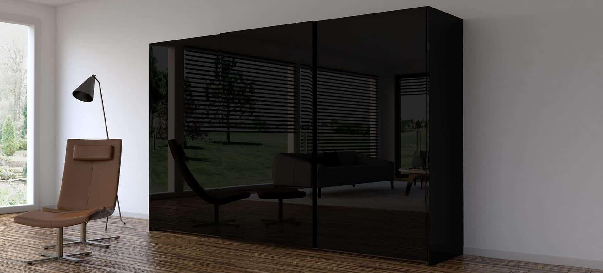 Dark colored glass cupboard
