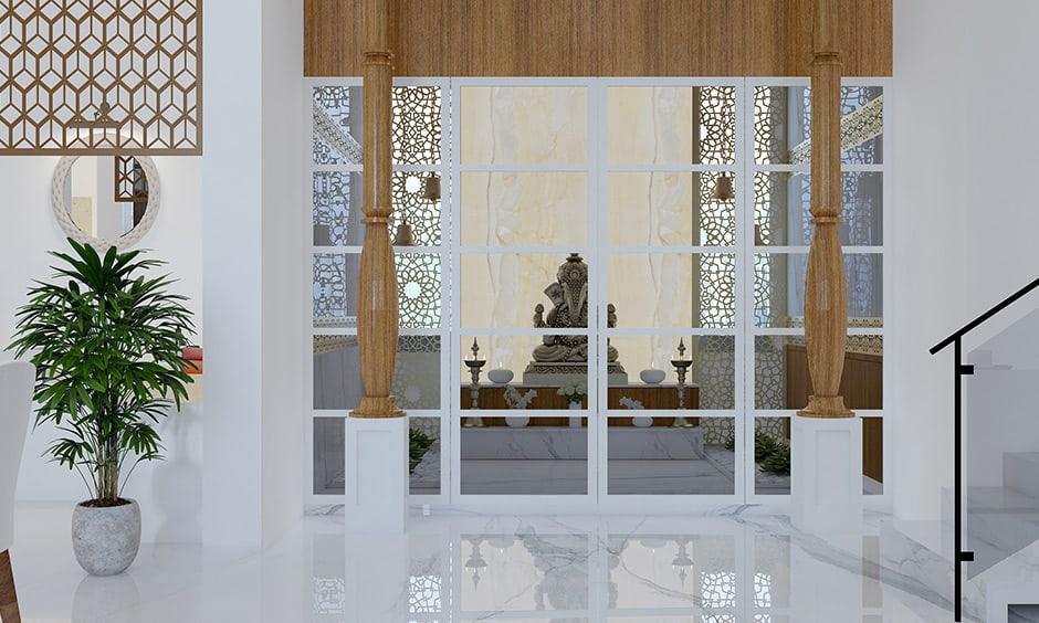 white glass pooja room door designs