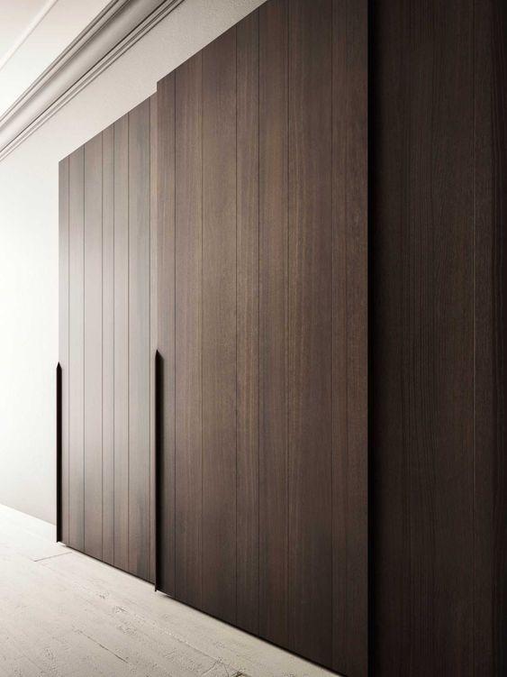 dark brown minimalist wooden wardrobes with flawless interior design