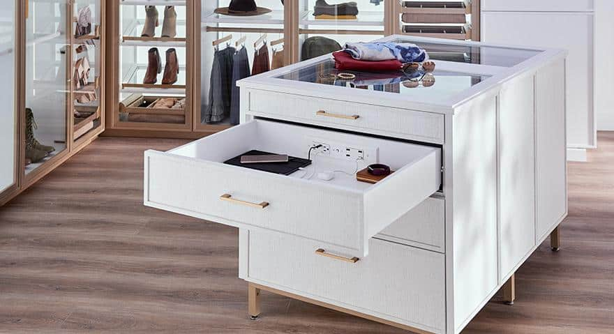 drawer organizer in white colour with golden handles for wardrobes
