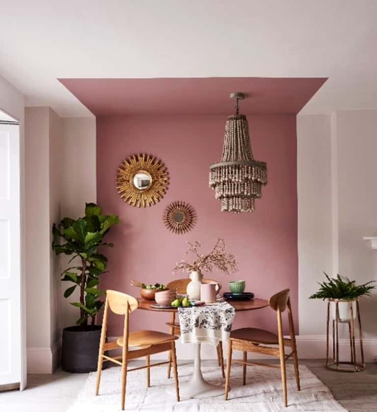 two toned pastel pink floor to ceiling wall paint design