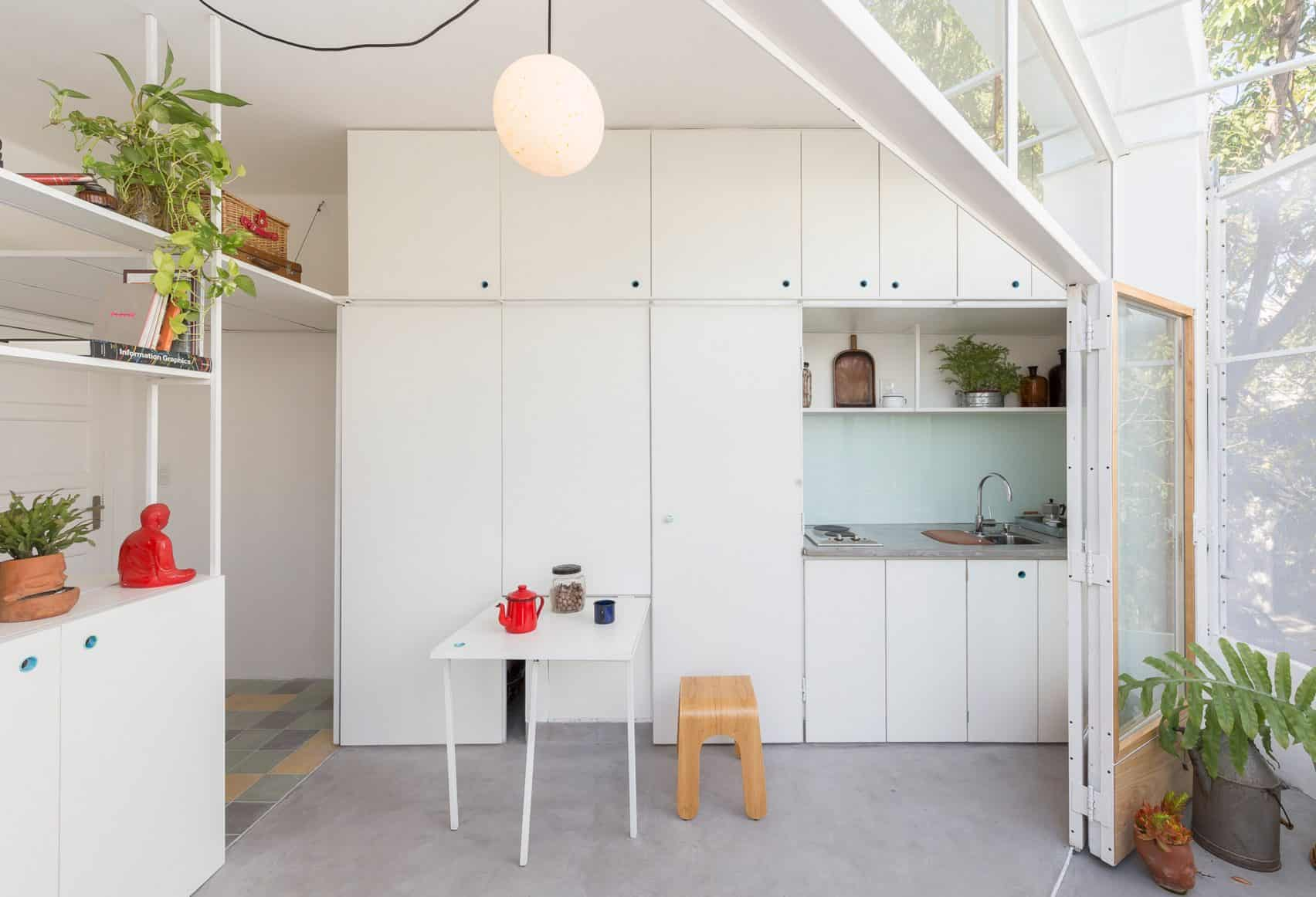 white colored birch ply cupboard for kitchen
