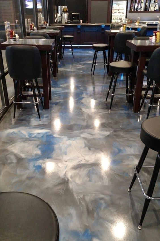 multi-colored epoxy floor for restaurant