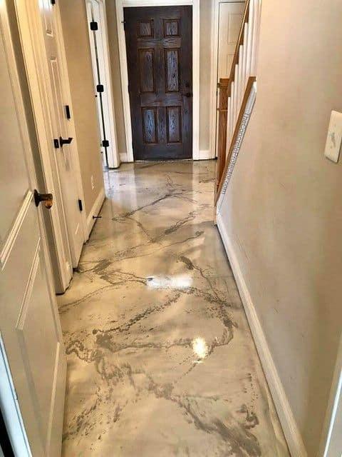 Marble flooring design with epoxy flooring