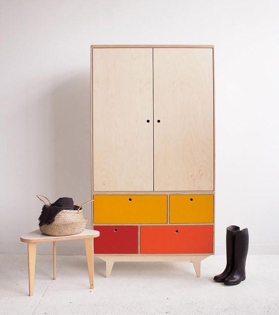 hinged wardrobes in orange cream and red colours and beautiful interior design