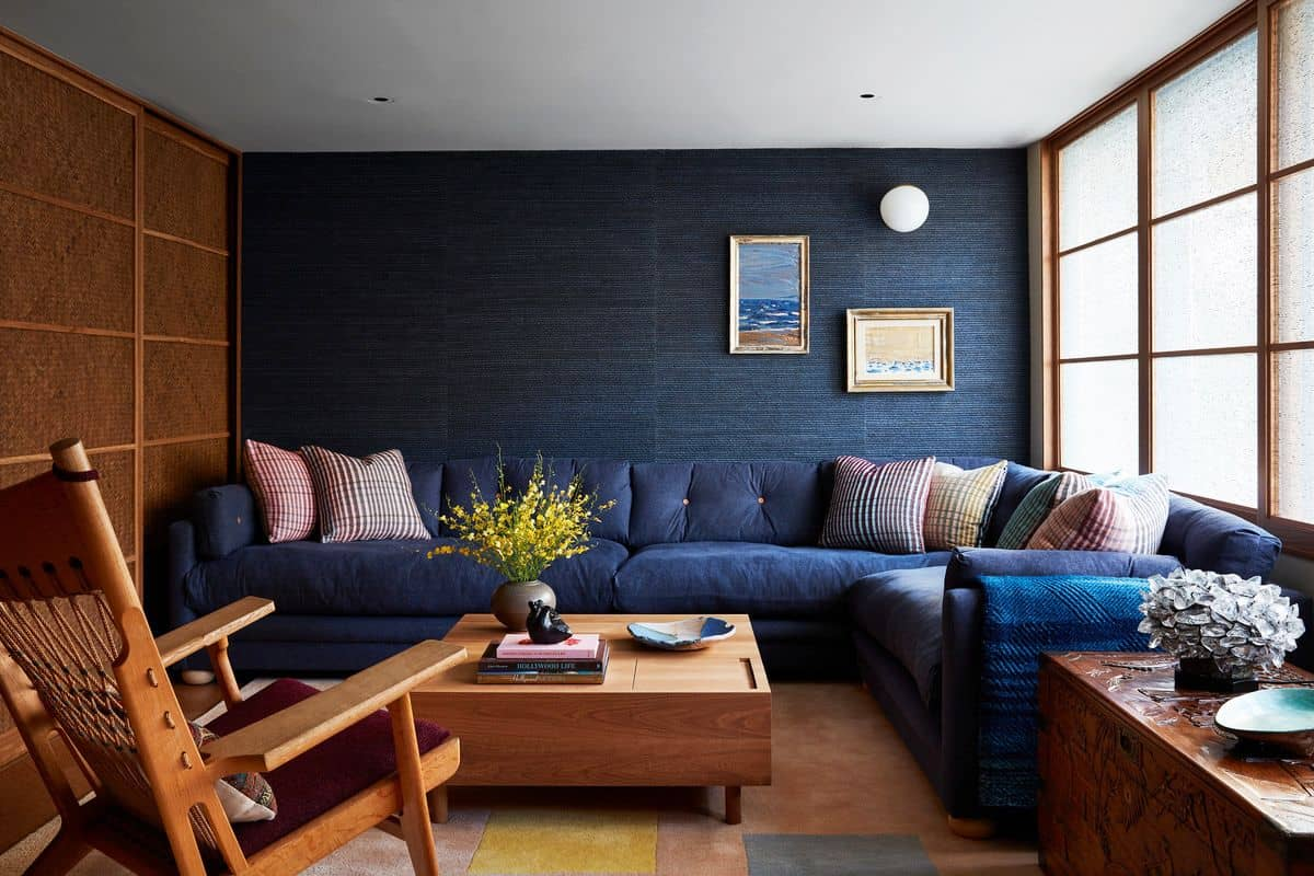 blue wall paint design for hall with wood furniture