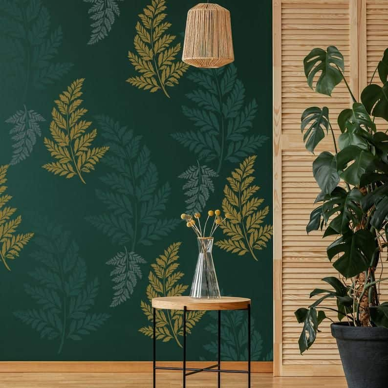 paint wall design in green color with fern leaves stencils