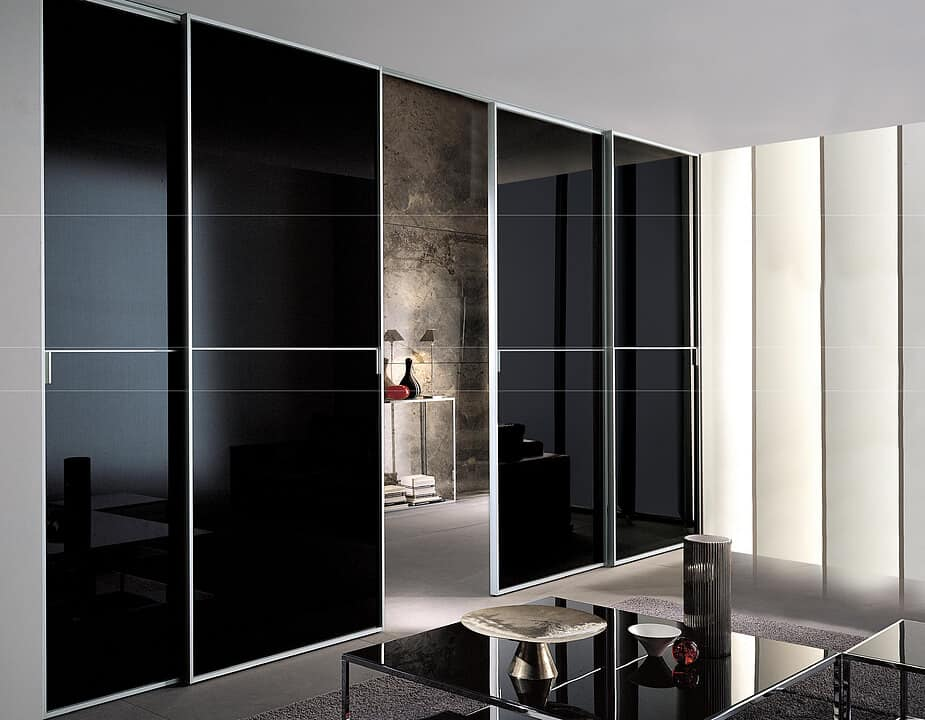 black high-gloss laminate doors for home