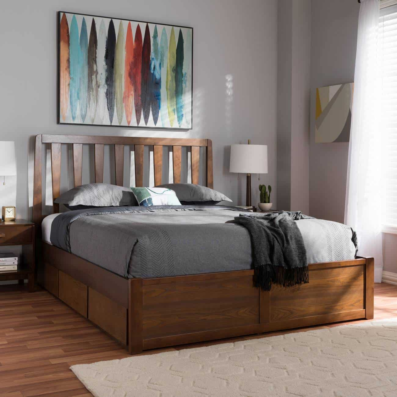 modern yet classic dark brown finished bed design