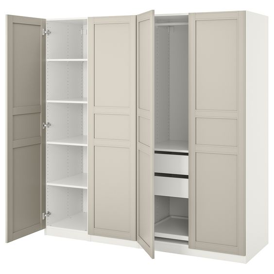 white plastic wardrobes with interior design, lights, and drawer system