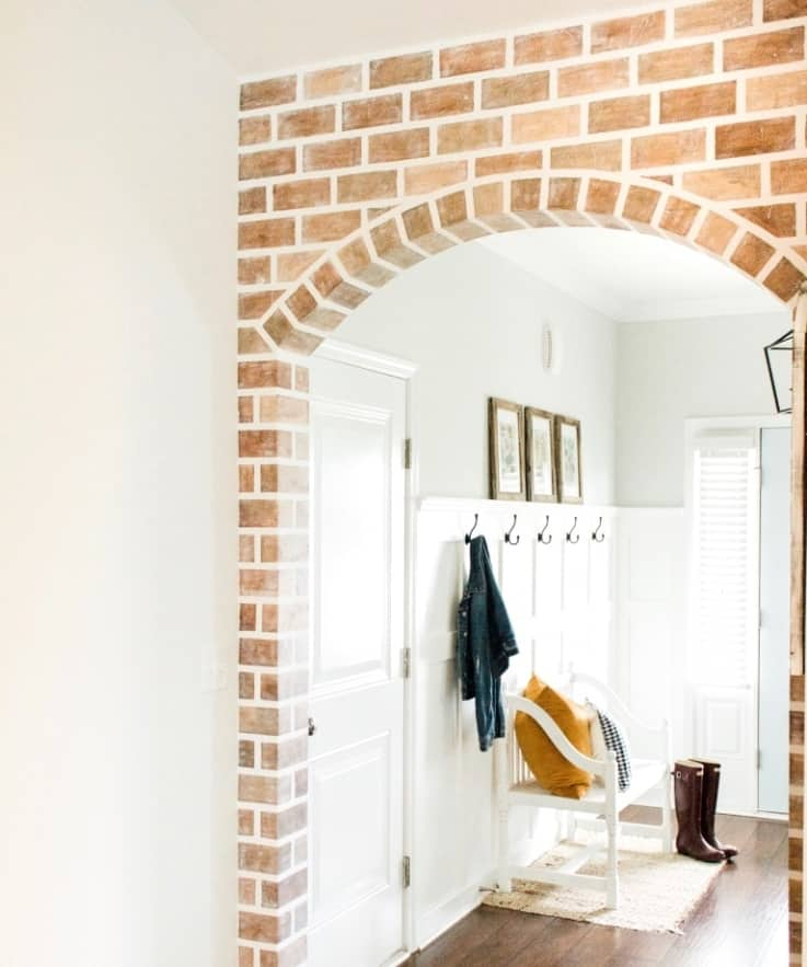 painted faux brick wall