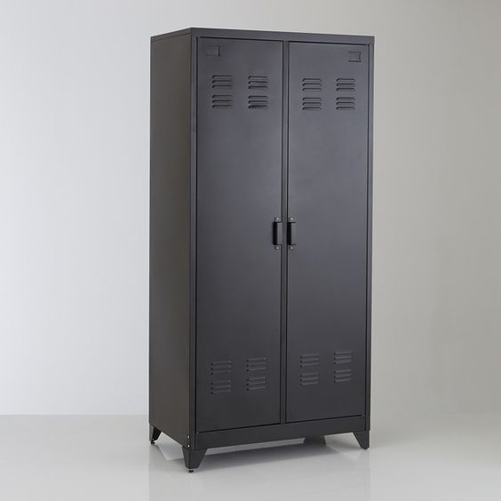 grey steel storage furniture with interior design, lights, and drawer system