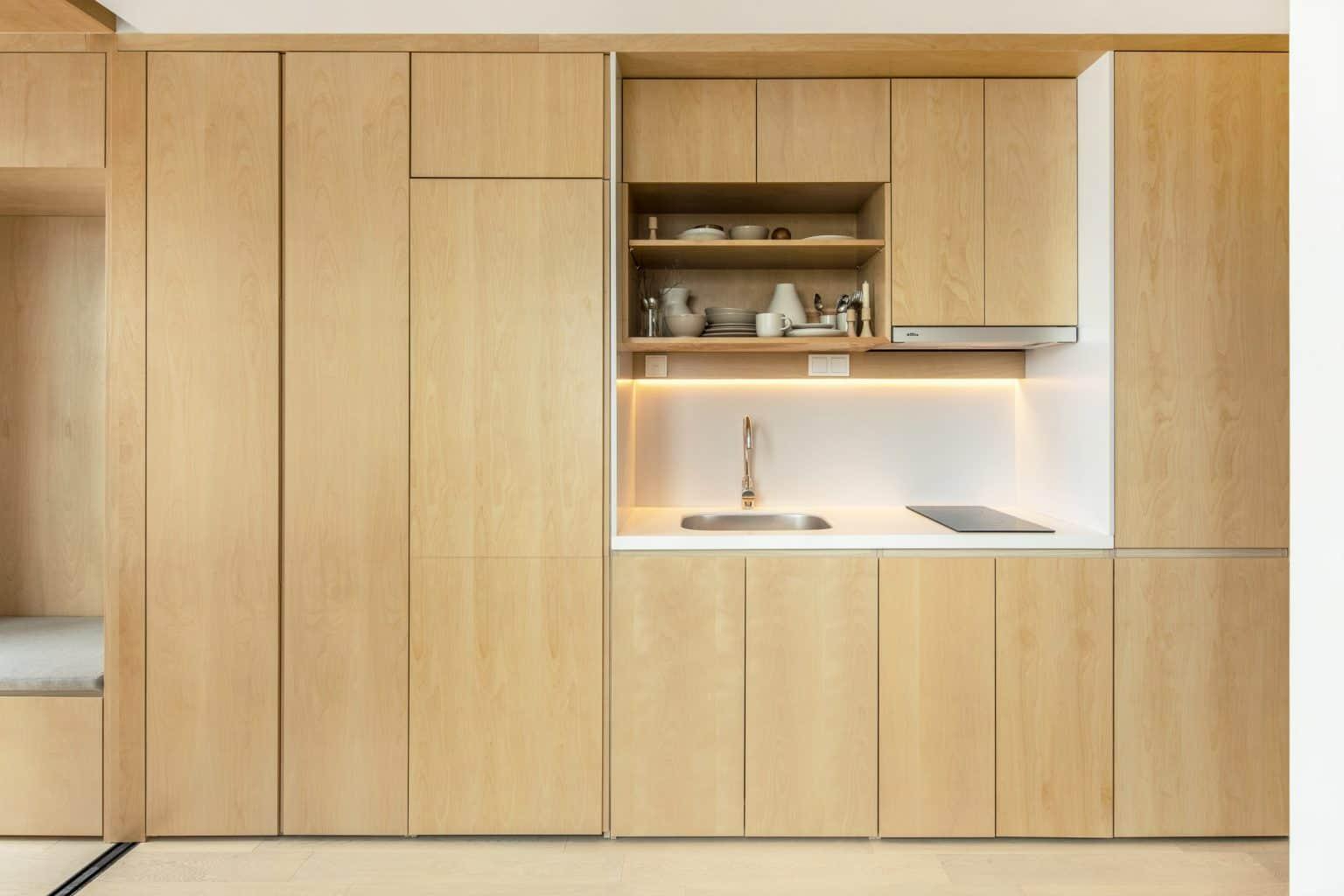 birch plywood kitchen cupboard design