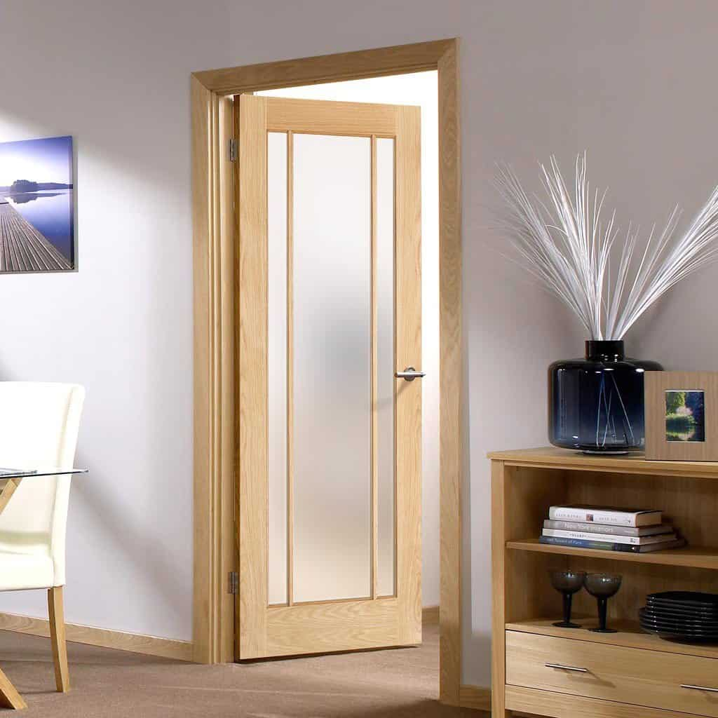 Glazed oak door with frosted glass