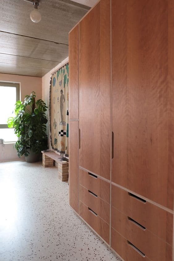 brown plywood wardrobes with interior design of same material