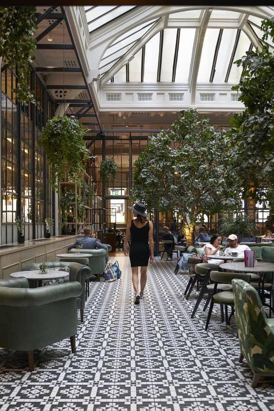 mpsaic flooring for restaurant setting.