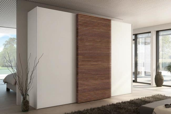 sliding wood and white cupboard
