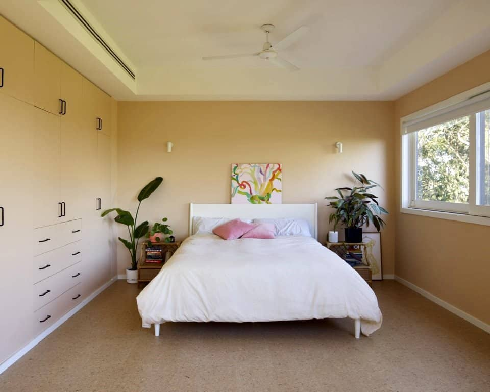plywood wall and window frames for bedroom
