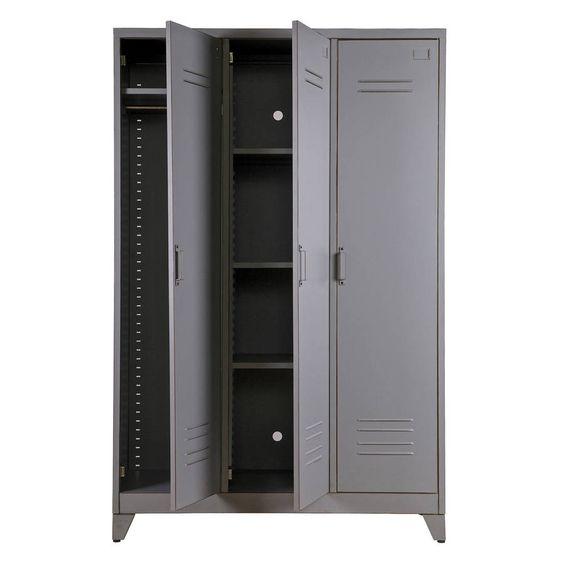 light grey steel wardrobe with three doors, interior design, lights, and drawer system