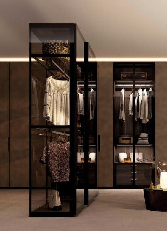 L shaped glass wardrobes with black metal frame with interior design, lights, and drawer system