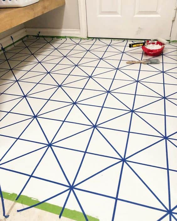 white floor paint with blue lines