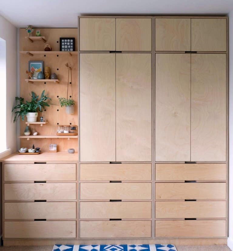 oak plywood wardrobe with cut-out handle