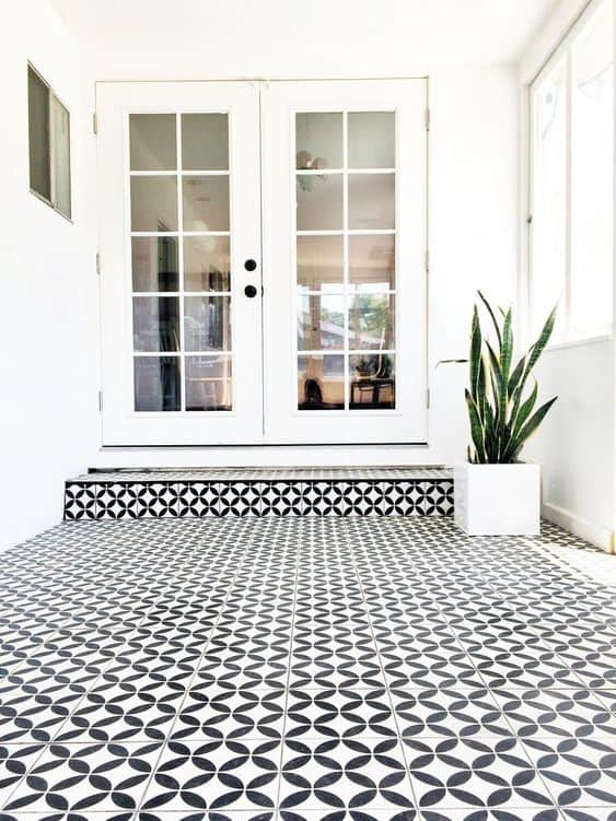 black and white flooring sticker for white door and walls