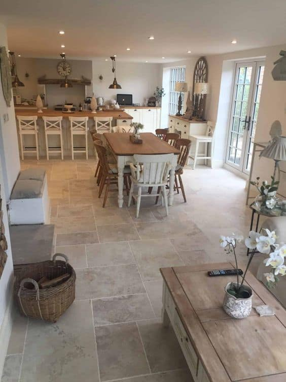 matte stone flooring for dining room and kitchen