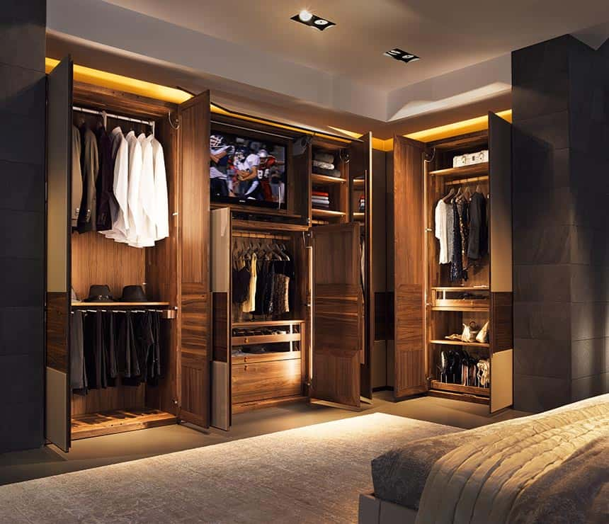 walk in wardrobe with lighting and wooden texture