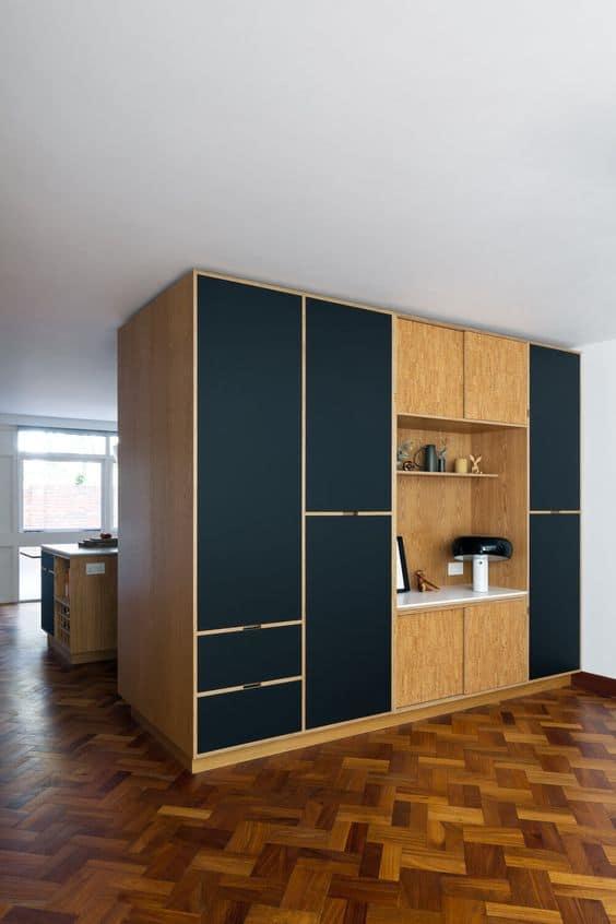 dark blue and brown wardrobes with showcase unit interior design