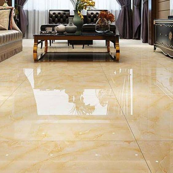 mustard colour vitrified floor for living room with dark brown furniture