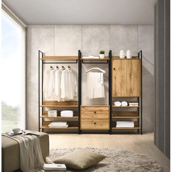 hangers for glass wardrobes with wooden cabinets