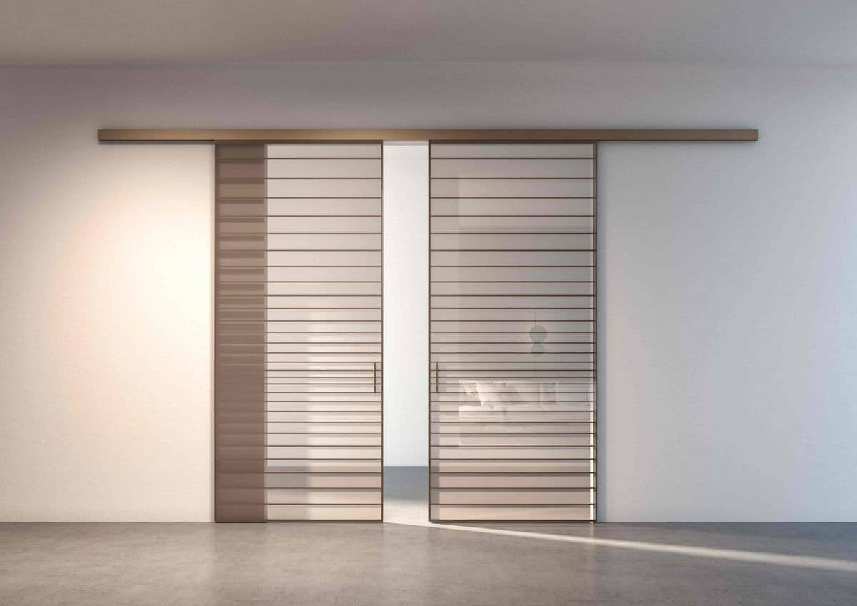 sliding door in white color with gold horizontal lines