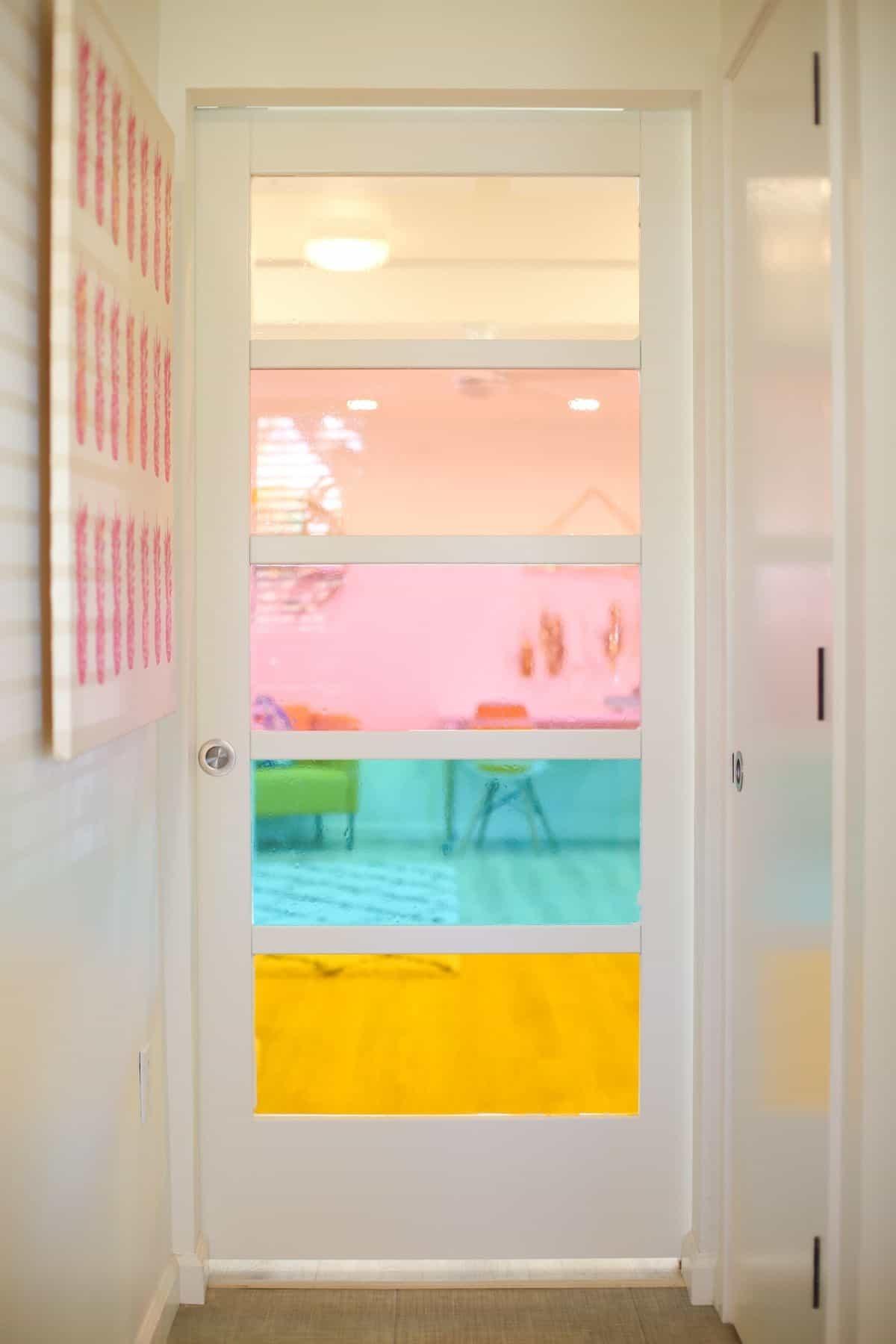 faux stained glass sliding barn door, room door designs
