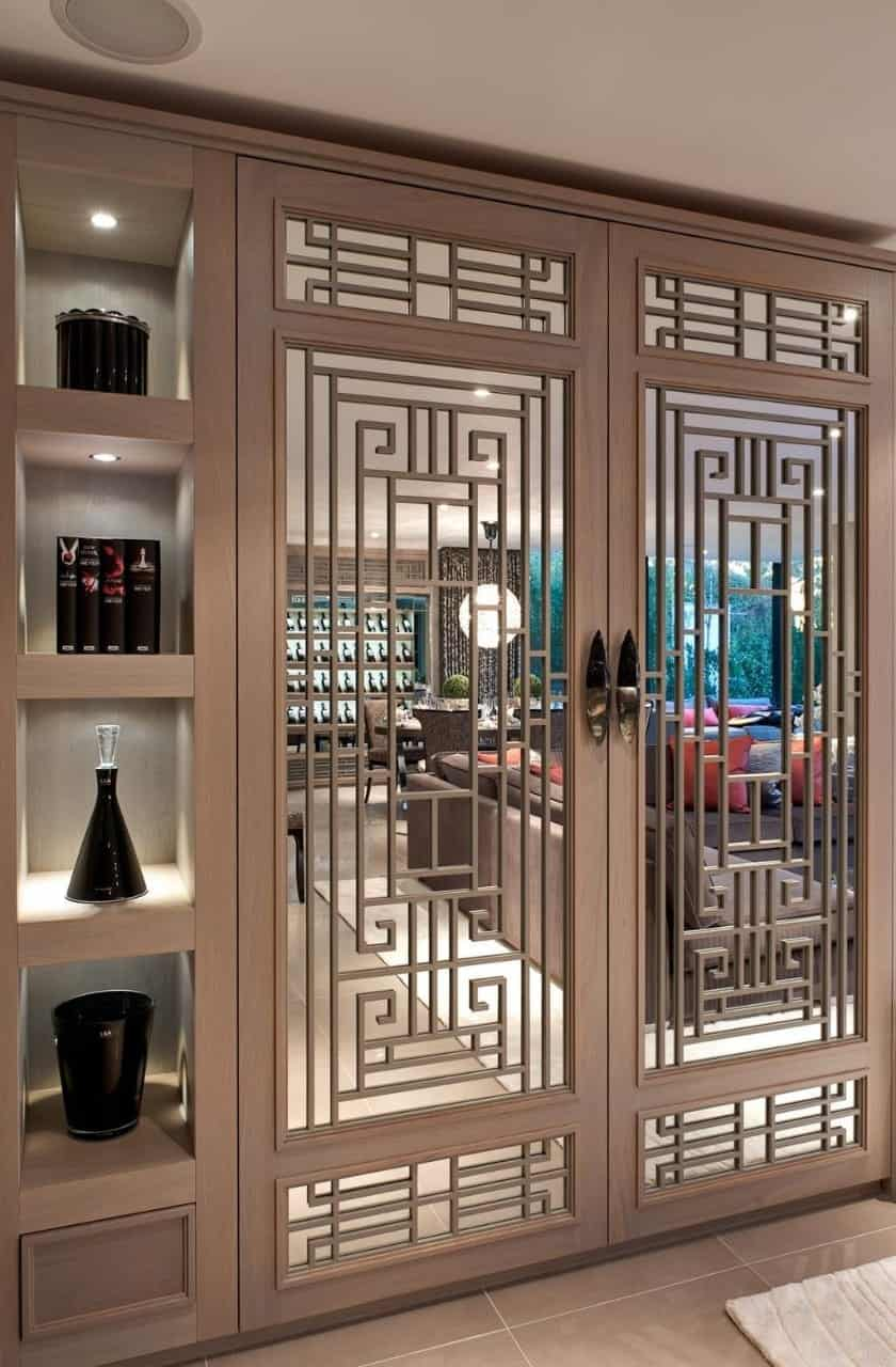 door grill design in grey color with a geometric pattern