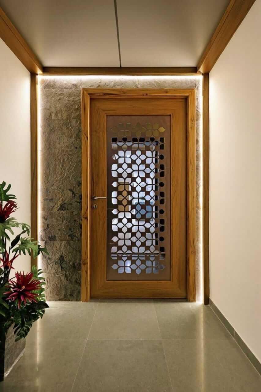 metal jali door design with laser cut lanel in brown color