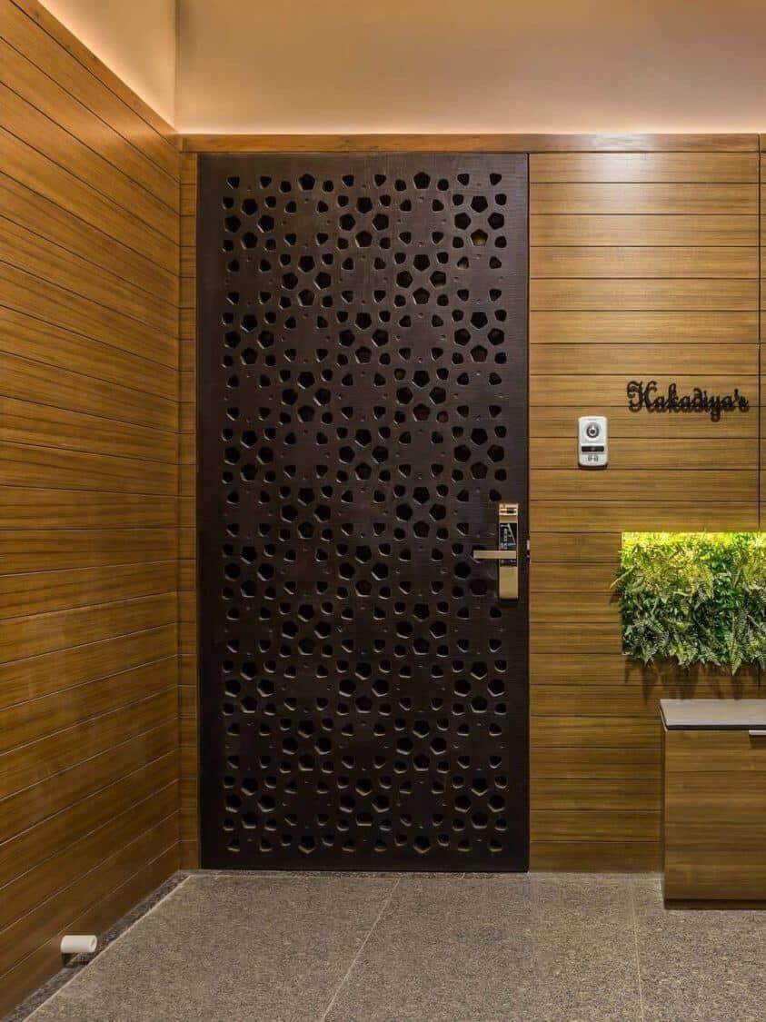 dark brown jali door design