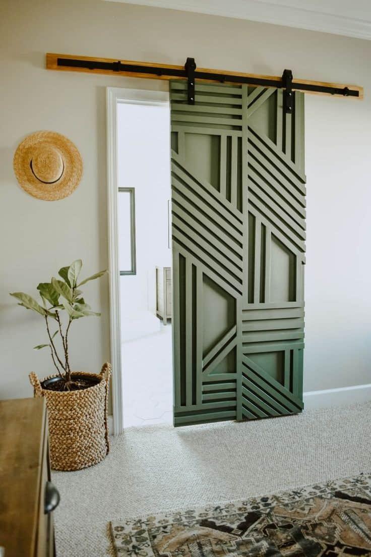 pastel green colored geometric sliding barn door design