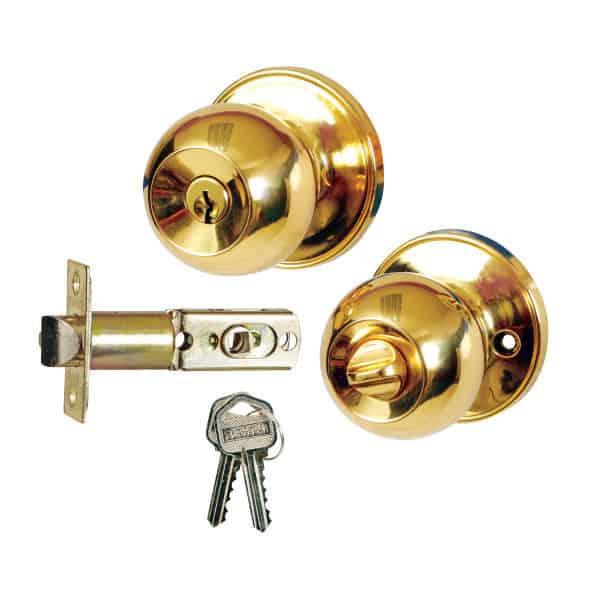 Doorknob locks with keys