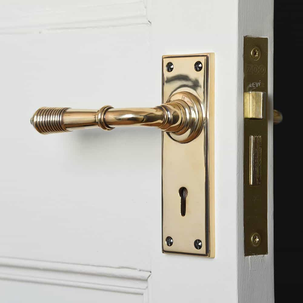brass lever handle with keyhole