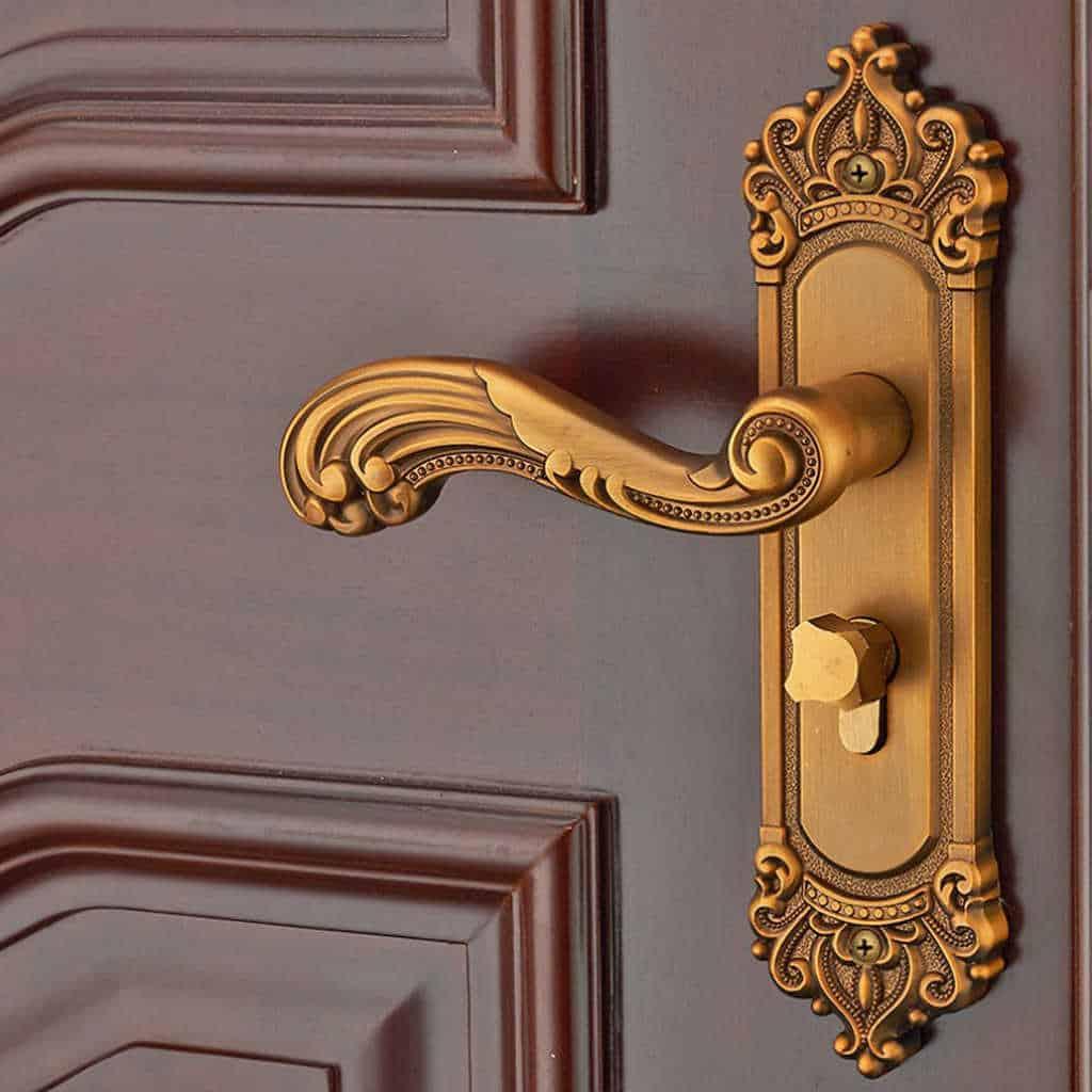 vintage golden door locks handleset