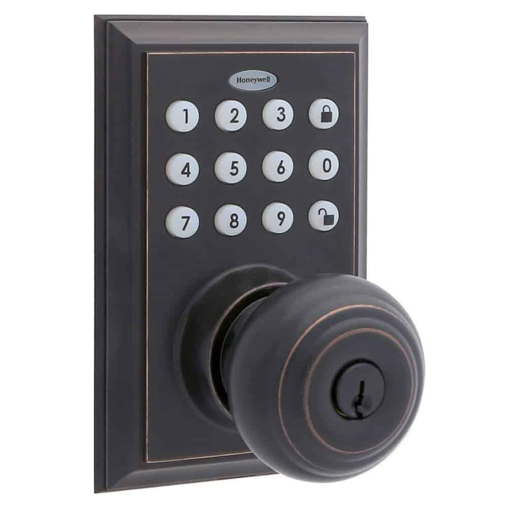 black digital doorknob lock